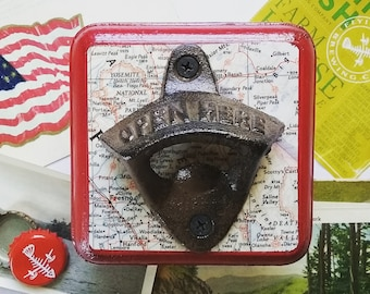 Beer Bottle Opener, Wall Mount Bottle Opener Made From a Vintage Map of Yosemite National Park, Unique Travel Inspired Housewarming Gift