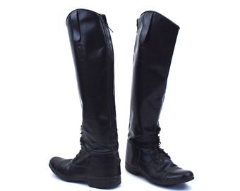 Tall Black Equestrian Dress Boot by Élan, Made in Brazil, Women's Size 7 W
