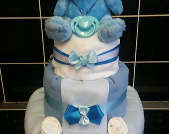 3 tier blue nappy cake