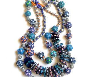 Boho necklace, Beaded necklace, Handmade necklace, Multi strand necklace, Bib necklace, Polymer clay necklace