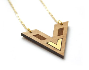 Geometric necklace, wooden jewel, gold color chevron, modern minimal contemporary jewelry, woman jewellery, trendy design, made in France