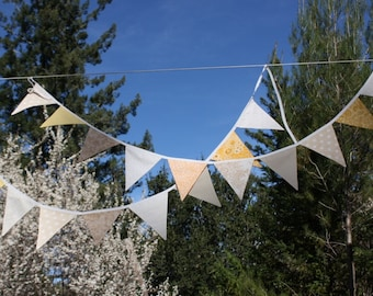 Downton Abbey Theme Fabric Bunting Banner, Party Flags Prop Decoration in Cream and White. Designer's Choice Garland Bunting, Photo Prop.