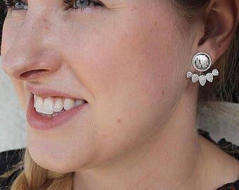 Sterling Silver Engravable CZ Teardrop Earrings