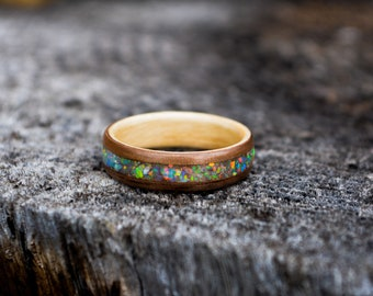 bentwood ring | opal ring | opal engagement ring | nature ring | wood ring | wooden ring | engagement ring | handmade jewelry | fire opal