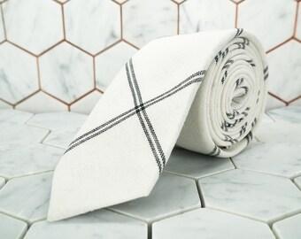 White Linen Tie. Argyle Plaid Necktie. Black and White Striped Ties. Mens Tie Gift Box. Black and White Ties. Mens Wedding Neck Ties. Dapper