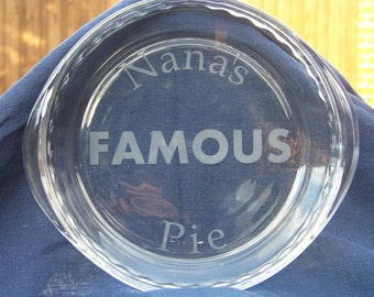 Personalized Pie Pan with molded edges and handles. Custom name and/or type of pie. Great for Thanksgiving, PumkinPie, Birthdays, Christmas