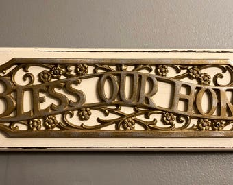 Vintage Bless Our Home Sign
