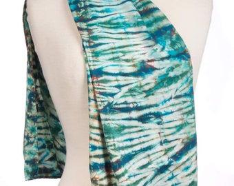 Silk Charmeuse Shibori Scarf Aqua Plus Tie Dye