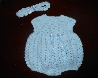 Crocheted Preemie Bubble Romper with Headband-Light Blue