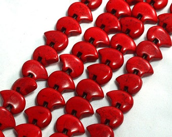 Six Dyed Red Magnesite Zuni Style Bear Fetish Beads Southwestern Navajo Pueblo Sky Water Totem Animal Cool Puff Crimson Coral Bittersweet