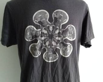 men's faded black guitar / flower print tee shirt/ festival / boho / rock star