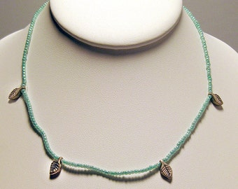 Teal 14 Inch Necklace with 4 Leaf Charms