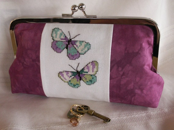 Handmade, hand embroidered, hand dyed evening clutch. Plum, lavender, aqua. BUTTERFLIES by Lella Rae on Etsy