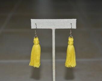 Yellow Tassel Earrings. Statement Earrings. Ear Candy Earrings. Floss Tassels. Embroidery Floss. Handmade Tassels. For Her. Under 20.