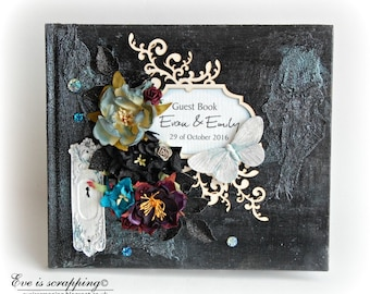 CUSTOM Handmade WEDDING Guest Book- Corpse bride, Gothic, Steampunk, Boho design mix media Black patina creamson
