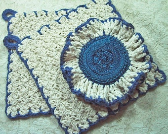 Country Kitchen Set 3 Piece - Natural & Royal Blue - Ruffled Scrubber and 2 Dish Cloths - Handmade Crocheted  Cotton Yarn - Mothers Day Gift
