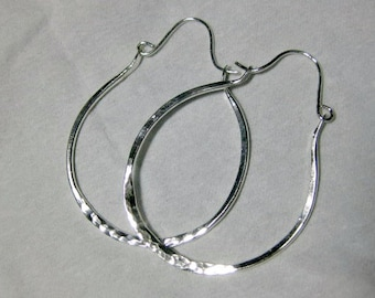Sterling Silver hammered Hoop earrings, H28, Minimalist, Silver hoops, Sterling Silver Metalwork
