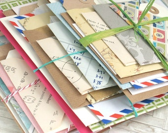 Junk Journal Bundle of Envelopes Tags for DIY Art Journal Kit, Travel or Bullet Scrapbook Kit, Project Life, Smash Book Kit, Daily Planner
