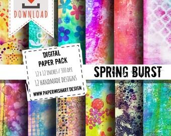 Spring Burst - Digital Paper Pack - High Quality images 12x12 / 300dpi - designer paper - INSTANT DOWNLOAD - Printable Scrapbook Background