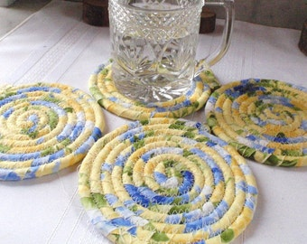 Coiled Fabric Coasters - Blossoming - Set of 4 - Handmade by Me, Pale Yellow, Sky Blue, Floral