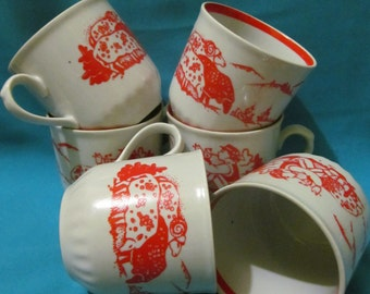 Beautiful Soviet 6 cups set of  shepherd with sheep USSR
