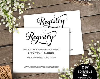 Printable Registry Card Wedding Registry Card Template