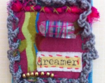 "Textile Brooch - ""dreamer"" hand sewn fabric brooch, Boho Hippy Chic Festival Pin"