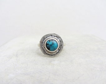Turquoise Sterling Silver textured Ring, Handmade sterling silver bezel ring