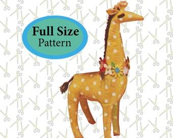 Giraffe Sewing Pattern stuffed animal Full Size softie zoo printable toy pattern PDF JB117