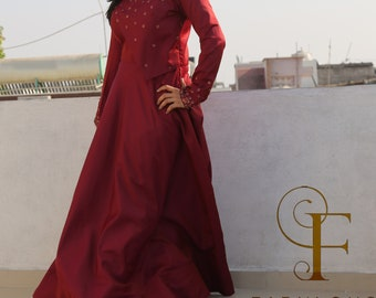 designer silk gown with hand embroidery
