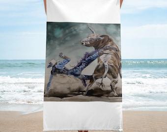 Bull Rider Towel- Watercolor Painting on Beach Towel