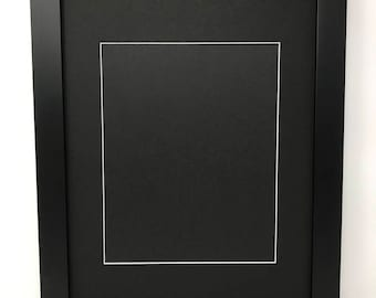 """16x20 1.25"""" Black Solid Wood Picture Frame with Black Mat Cut for 11x14 Picture"""
