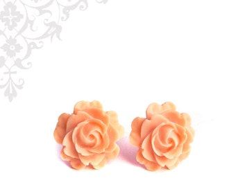 Peach Rose Earrings. Resin Flower Studs with Titanium Posts
