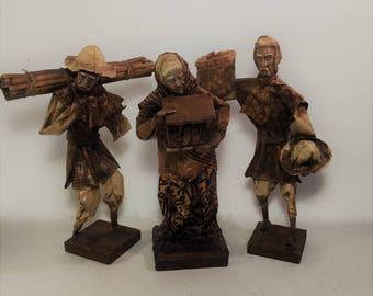 Vintage Mexican Folk Art Paper Mache Sculptures, Set of 3