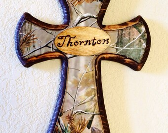 Camo Cross with Engraved Name