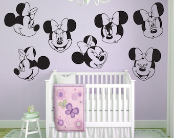"""Wall decals MINNIE MOUSE 7 Various large faces Interior decor by Decals Murals (22"""")"""