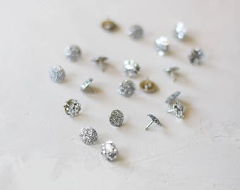 Silver Glitter Metal Thumb Tacks - 20 pc