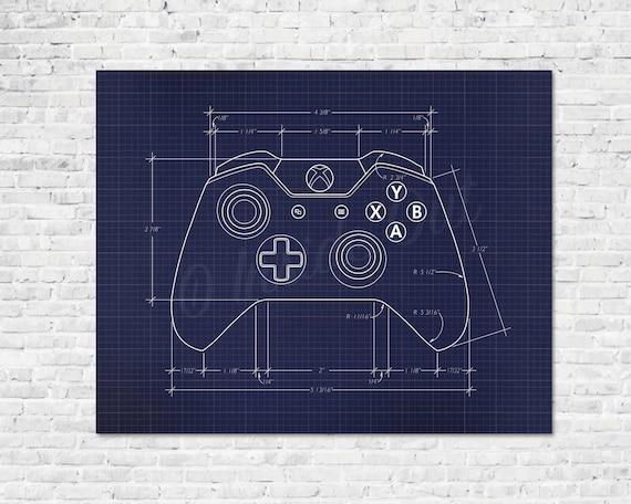 Video game controller blueprint game poster gamer wall decor te gusta este artculo malvernweather Images