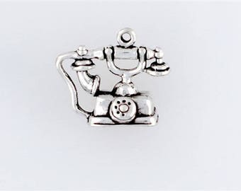 Sterling Silver 3-D Old Fashioned Telephone Charm