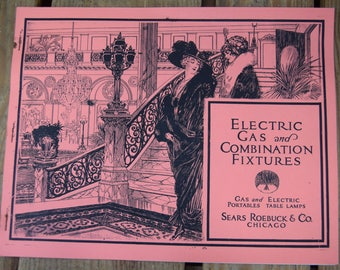 Vintage Sears Roebuck & Co Electric Gas and Combination Fixtures Catalog Chicago