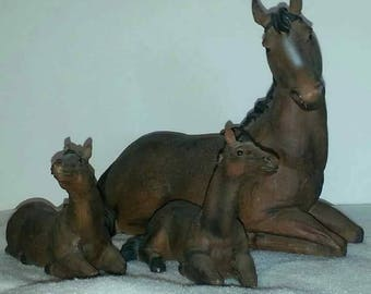 Set of 3 Vintage Horses - Mare & 2 Foals