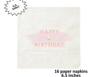 pink and gold happy birthday napkins, hearts, foil decorations, pretty party ideas, girls, paper tableware, polka dots, white, womens