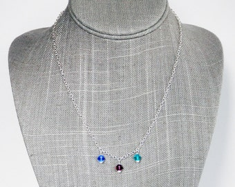Swarovski Crystal Birthstone Necklace - Birthstone Chain Necklace - Mothers Necklace - Silver Necklace - Grandmother Necklace - Gift for Her