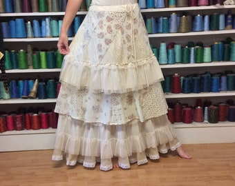 Boho Shabby Chic Lace Ruffles Skirt Long Tiered Floral & Paisley Women's Size M-L Upcycled Clothing