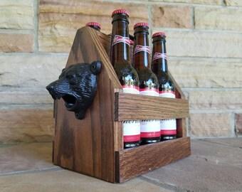 Custom Oak Beer Tote