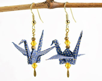 Origami first anniversary gift of paper| Boho earrings for girlfriend| | Blue jewelry for wife| Blue earrings for best friend