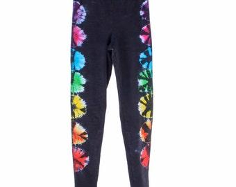 Chakra Leggings, Yoga Pants, American Apparel Tie Dye Pants, Hippie Clothing
