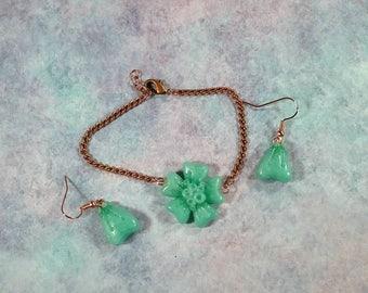 Mint Sakura jewelry set - Kawaii cherry blossom bracelet