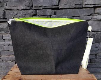 Project Bag | Knitting Bag | Knitting Project Bag | Zippered Project Bag | Wedge Bag | Sweater Knitting Bag | Neon Yellow Polka Dots