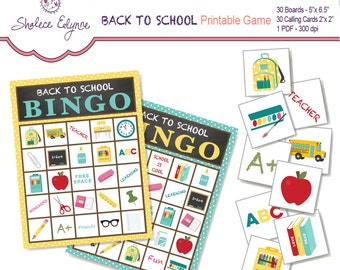 Back to School BINGO Printable Game, Instant Download